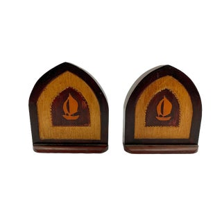 Arts and Craft Movement Craftsman Handmade Cathedral Sailboat Bookends - a Pair For Sale