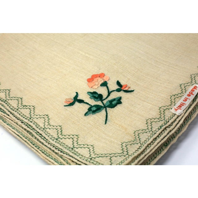 Vintage Italian Embroidered Linen Napkins and Placemats - Set of 16 For Sale In Tampa - Image 6 of 12