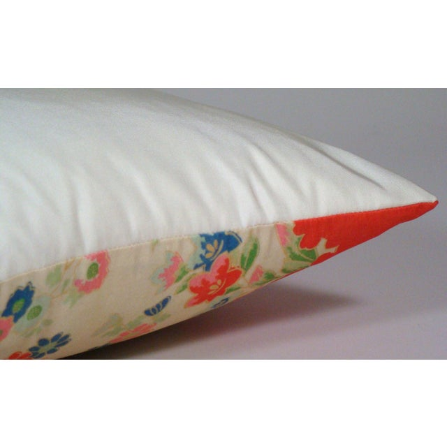 Silk Chinese Silk Floral Lumbar Pillow Cover For Sale - Image 7 of 9