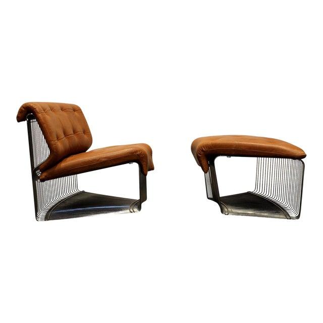 Verner Panton for Fritz Hansen Pantonova Leather Lounge Chair and Ottoman For Sale