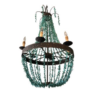 Regina Andrew Rustic Empire Style Turquoise Beaded Chandelier For Sale