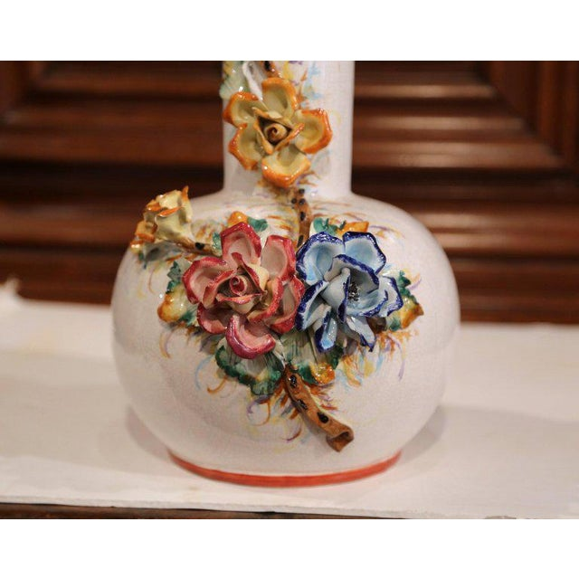 French Large Early 20th Century French Hand Painted Barbotine Vase With Flowers For Sale - Image 3 of 10