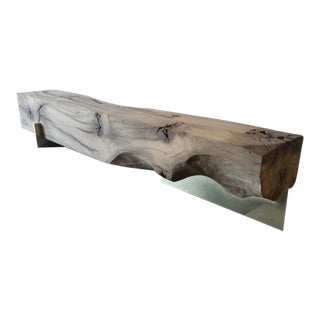 Oz|shop Antique Oak Beam Bench With Brass Plate Feet For Sale