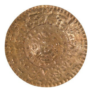 Late 20th Century Mayan Motif Brass Hanging Plate For Sale