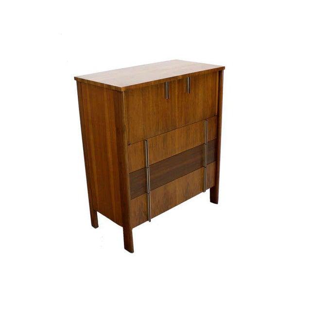 John Widdicomb Mid-Century Modern Walnut High Chest Dresser For Sale - Image 9 of 9