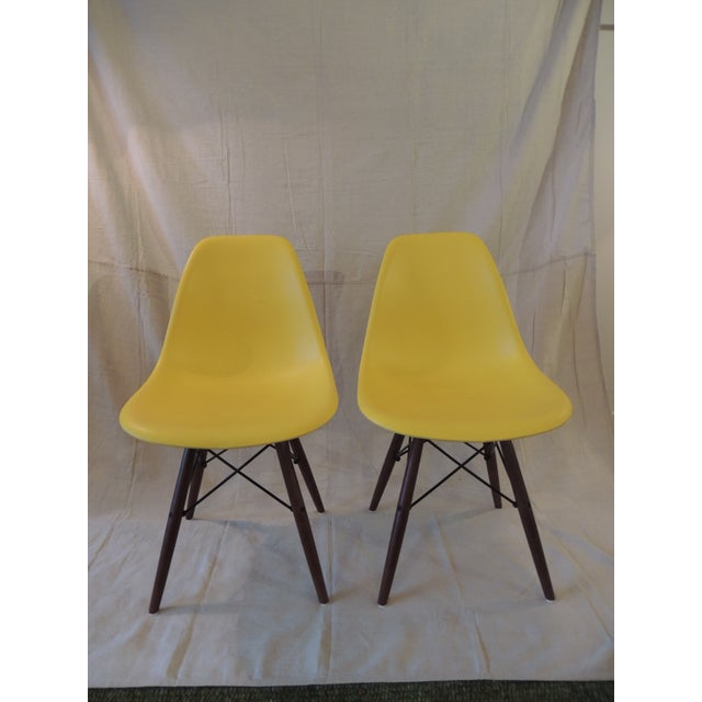 Plastic Eames Style Yellow Molded Plastic Side Chairs - a Pair For Sale - Image 7 of 7