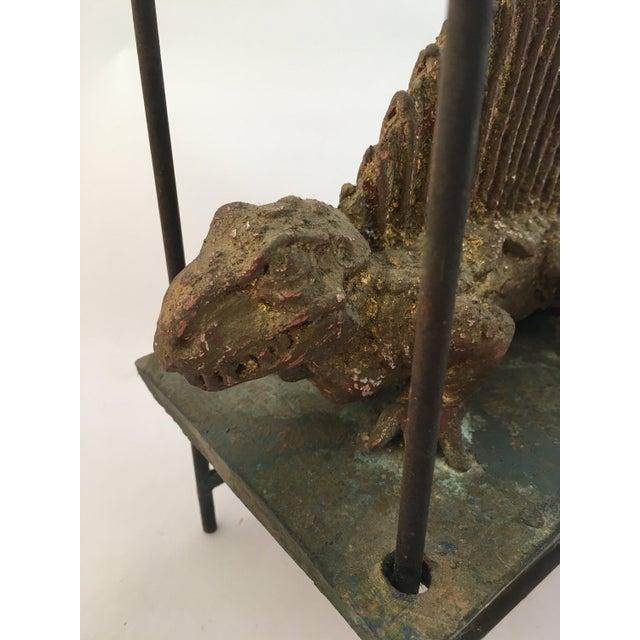 Late 20th Century Thoym Rebusi Studio Tom McCanna Gilt Terracotta Dimetrodon Candleholder For Sale - Image 5 of 11
