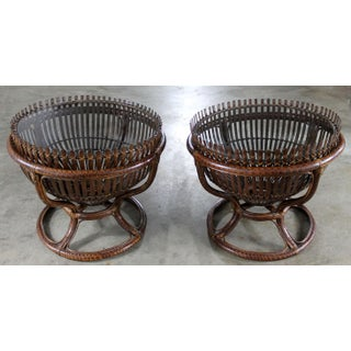 Franco Albini Style Fish Trap Basket Tables - a Pair Preview