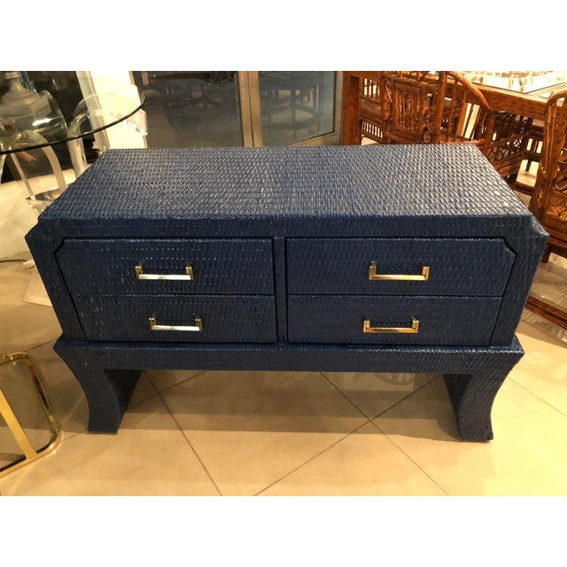 Vintage Blue Lacquered Wicker Brass Credenza Chest Console Table For Sale - Image 12 of 13