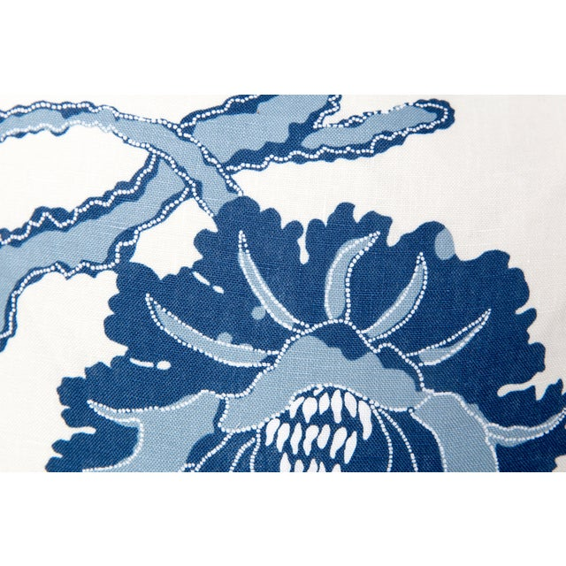 Boho Chic Blue and Ivory Peony Blossom Pillows - a Pair For Sale - Image 3 of 6