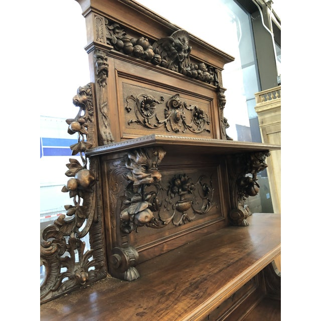 19th Century St. Hubert French Louis XIII Carved Walnut Buffet For Sale - Image 9 of 11