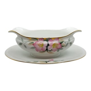 Noritake Japanese Azalea Pattern Sauce Gravy Boat With Attached Underplate For Sale