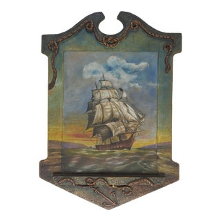Hand Painted Folk Art Nautical Frame For Sale