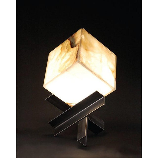 """Modern Contemporary """"Cubyx"""" Onyx and Blackened Steel Lamp For Sale - Image 3 of 4"""