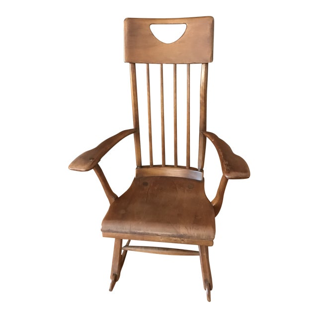 Herman De Vries for Sikes Furniture Colonial American High-Back Rocking Chair For Sale