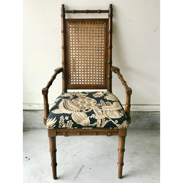 1960s 1960's Vintage Cane Back Faux Bamboo Dining Chairs- Set of 10 For Sale - Image 5 of 12