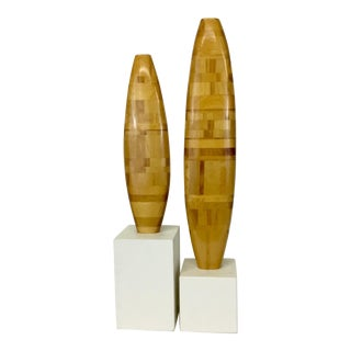 1980s Postmodern Stacked Maple Sculptures - a Pair For Sale