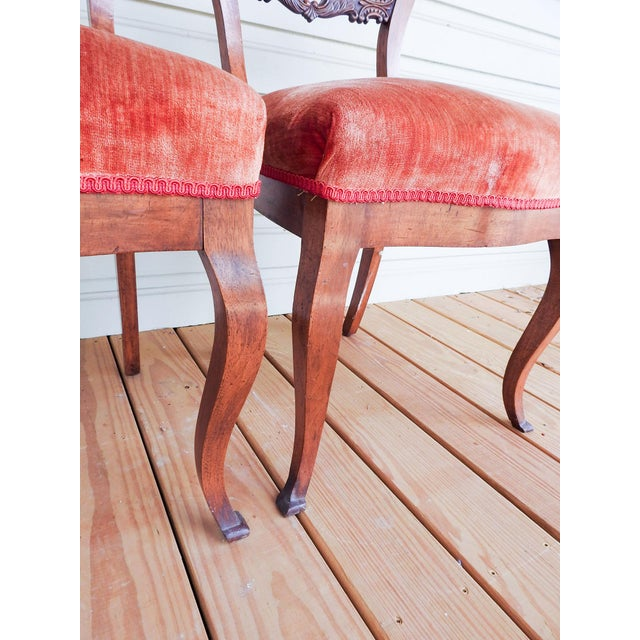 Antique Walnut Hand Carved Velvet Side Chairs - a Pair For Sale - Image 10 of 12
