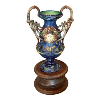 French 19th Century Antique Hand Painted Ceramic Vase Wine Decanter Wooden Riser For Sale