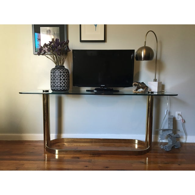 Mid-Century Modern Pace Brass and Glass Console Table For Sale - Image 3 of 6