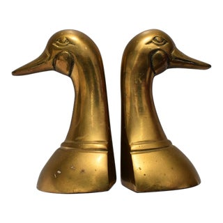 Vintage Cast Brass Duck Bookends-a Pair For Sale