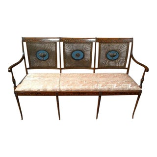 Edwardian Satinwood Painted Cane Back Open Arm Settee For Sale