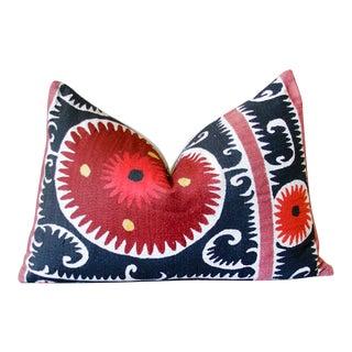 Fizzah Vintage Suzani Lumbar Pillow For Sale