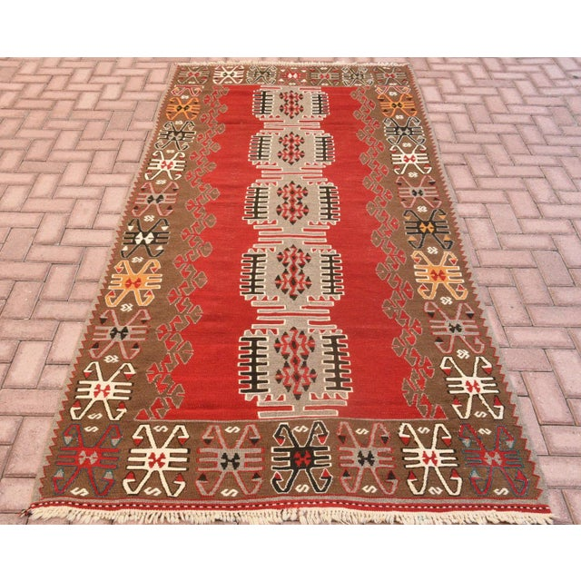 Vintage Handmade Carpet Anatolian Kilim Rug Size: 4.2 x 9.2 feet (128 x 280 cm) 50 x 110 inches Color: Red, Brown...