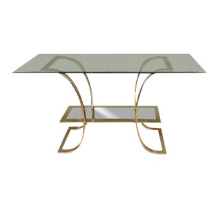 1970s Hollywood Regency Milo Baughman Style Glass & Brass Console Table