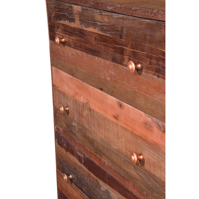 Metal Vern Rustic Wooden 5 Drawer Chest for Bedroom For Sale - Image 7 of 8