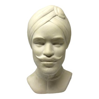 Vintage Plaster Bust Male Genie With Turban For Sale