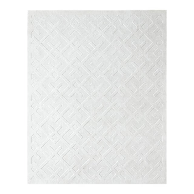 Arlo, Contemporary Modern Hand Loom Area Rug, White, 9 X 12 For Sale - Image 9 of 9