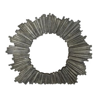 Brutalist Starburst Pewter Frame or Mirror For Sale