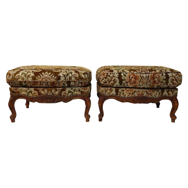 Contemporary Traditional French Ottomans With Rich Fabric Upholstery - a Pair For Sale