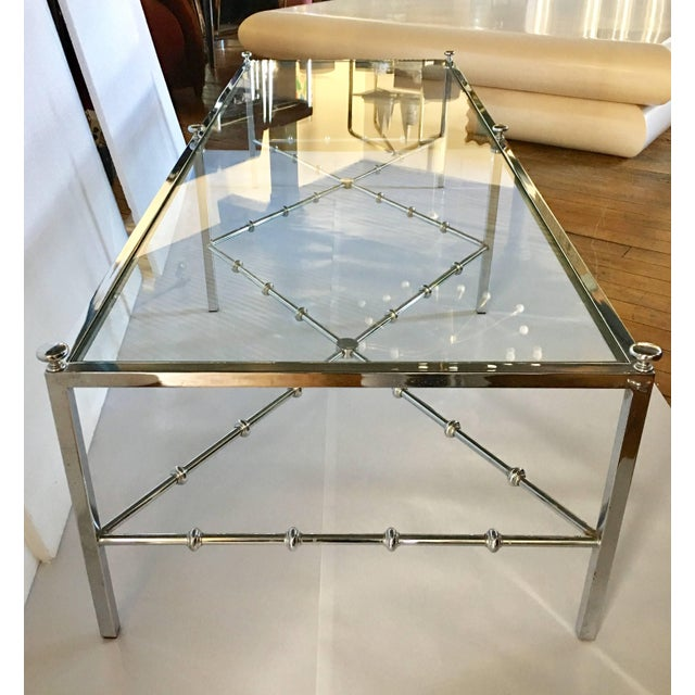 Hollywood Regency Maison Jansen Style Long Chrome Faux Bamboo Cocktail Table For Sale - Image 3 of 6