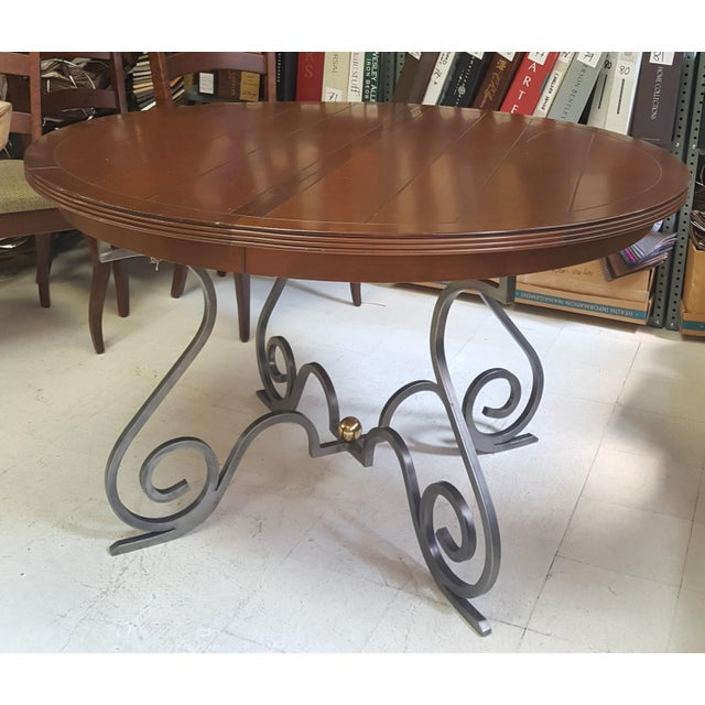 Rustic Creative Metal Round Table With Extra Leaf For Sale - Image 3 of 12