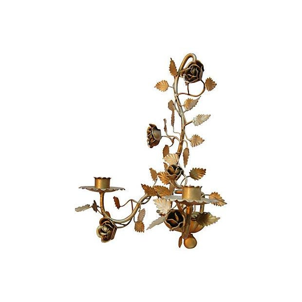 Mid-Century Italian Floral Candle Sconces - A Pair - Image 7 of 7