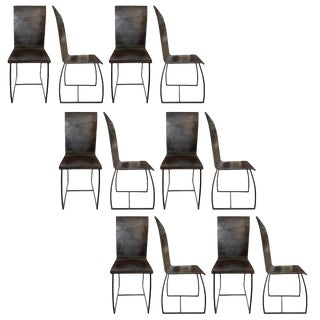 French Brutalist Dining Chairs- Set of 12 For Sale