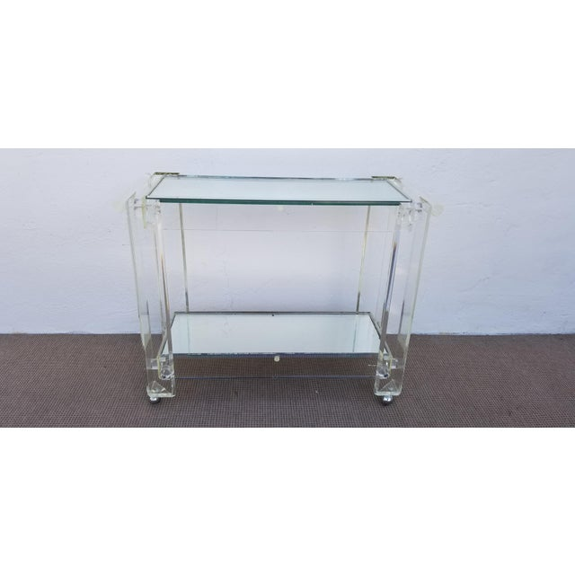 1970s 1970s Mid-Century Modern Lucite Mirrored Glass 2-Tier Bar Cart or Trolley For Sale - Image 5 of 12