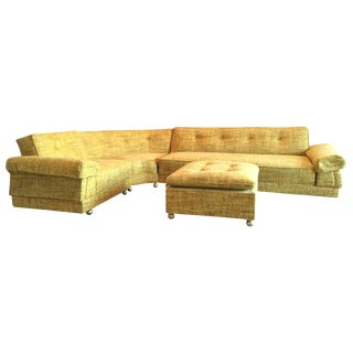 1970s Vintage Sunflower Tweed Sectional