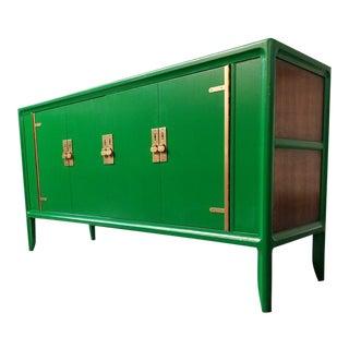 1970s Mid Century Modern Green Wooden Buffet