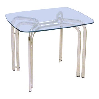 1980s Hollywood Regency Brass & Glass End Table For Sale