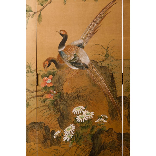 Sung Tze-Chin Large Chinoiserie Hanging Screen Ink on Silk Birds and Flowers Scene 9 Feet Wide by 7 Feet Height For Sale - Image 9 of 13
