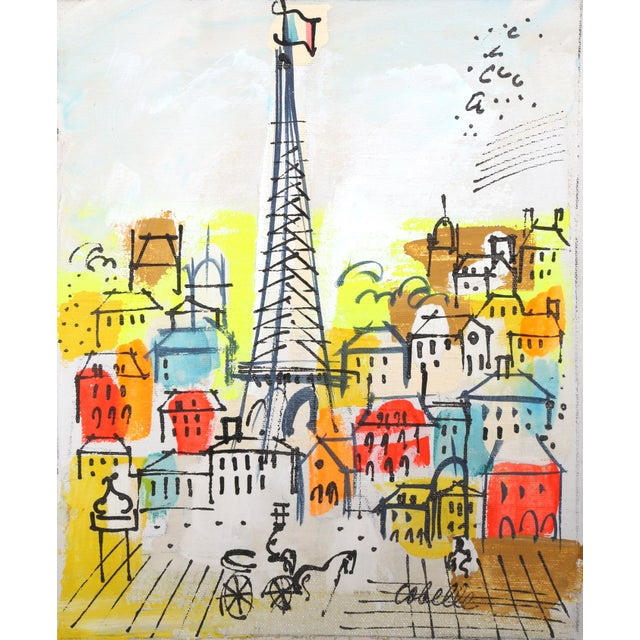 Mid-Century Modern Charles Cobelle, Eiffel Tower 7, Acrylic on Canvas, Signed Lower Right For Sale - Image 3 of 3