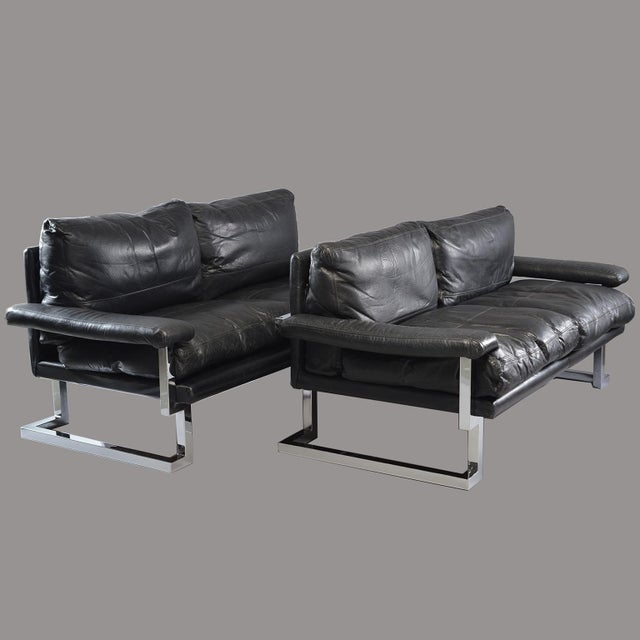 Black Leather and Chrome Sofas by Tim Bates for Pieff & Co. - a Pair For Sale - Image 13 of 13