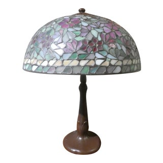 1920's Handel Attribution Stained Glass Apple Blossom Lamp For Sale