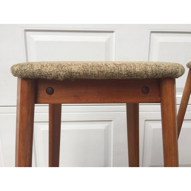 Stunning set of three Danish mid century teak bar stools by Tarm Stole-Og Mobelfabrik. All three are stamped. This is a...