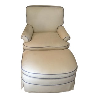 1980s Vintage White Madelasse Club Chair & Ottoman For Sale