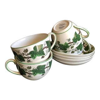 Wedgwood Napoleon Ivy Large Cafe-Au-Lait Cups & Saucers - Set of 4 For Sale