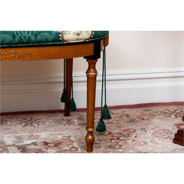 Early 20th Century Early 20th Century Satinwood Hand-Painted Cane Settee For Sale - Image 5 of 12